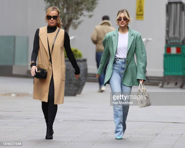 Amanda Holden and Ashley Roberts seen leaving Heart Breakfast Radio Studios on May 04, 2021 in London, England.