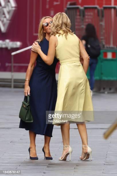 Amanda Holden and Charlotte Hawkins outside Global Radio Studios on September 17, 2021 in London, England.
