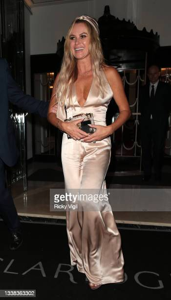Amanda Holden are seen attending David Walliams' 50th Birthday party at Claridge's hotel in Mayfair on September 04, 2021 in London, England.