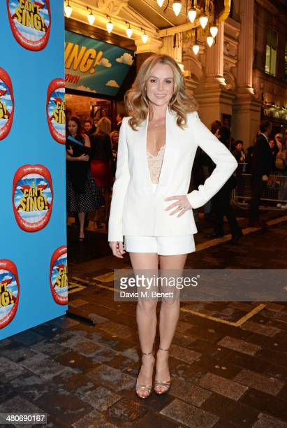 Amanda Holden arrives at the press night performance of 'I Can't Sing The X Factor Musical' at the London Palladium on March 26 2014 in London England