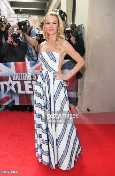 Amanda Holden attends the red carpet arrivals for the new series of Britain's Got Talent at the Mayfair Hotel on April 12 2017 in London United...