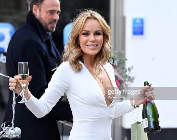 Amanda Holden celebrates her 50th birthday at Global radio studios on February 12, 2021 in London, England.