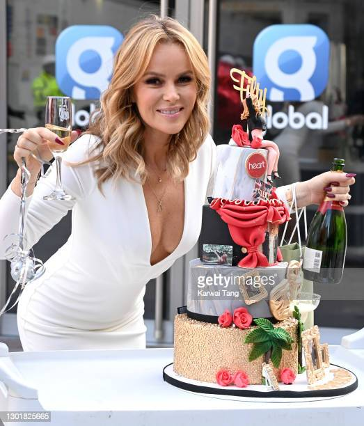 Amanda Holden celebrates her 50th birthday at Global radio studios on February 12, 2021 in London, England.