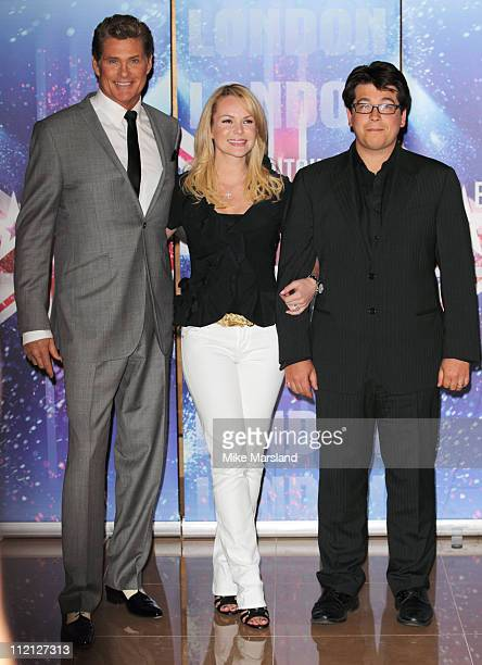 Amanda Holden, David Hasselhoff and Michael McIntyre promotes the new 'Britain's Got Talent' series for ITV at May Fair Hotel on April 13, 2011 in...