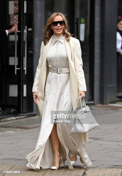 Amanda Holden departs Global Radio studios after finishing her radio show on January 15, 2021 in London, England.
