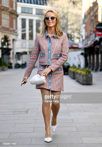 Amanda Holden departs Global radio studios on February 24, 2021 in London, England.