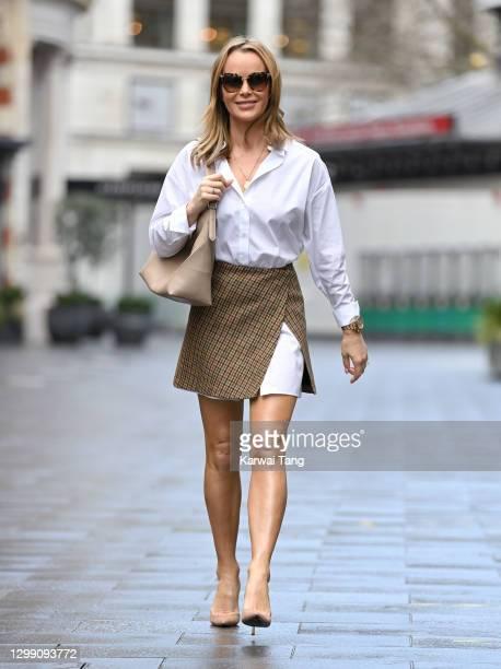 Amanda Holden departs Global radio studios on January 28, 2021 in London, England.