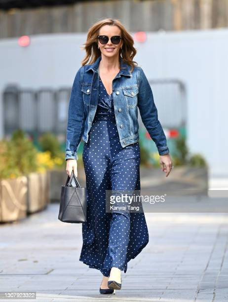 Amanda Holden departs Global radio studios on March 19, 2021 in London, England.