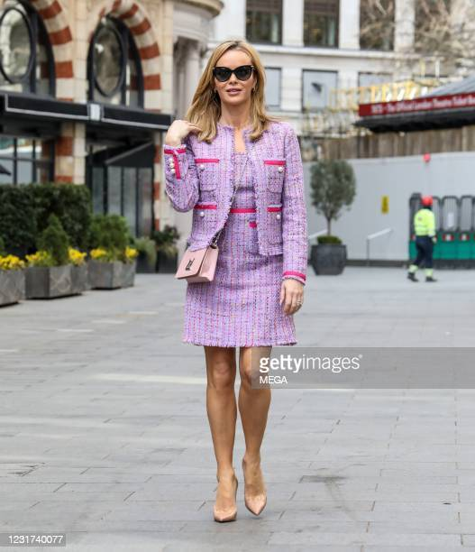 March 15: Amanda Holden is seen at Global Radio studios on March 15, 2021 in London, England.