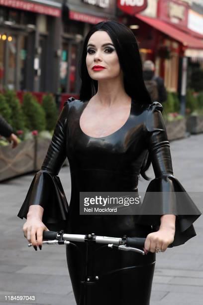 Amanda Holden is seen leaving Heart Breakfast Radio Studios dressed for Halloween on October 31, 2019 in London, England.