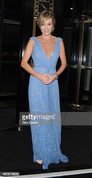 Amanda Holden is seen leaving the climate group event held at the Dorchester Hotel on January 15 2014 in London England