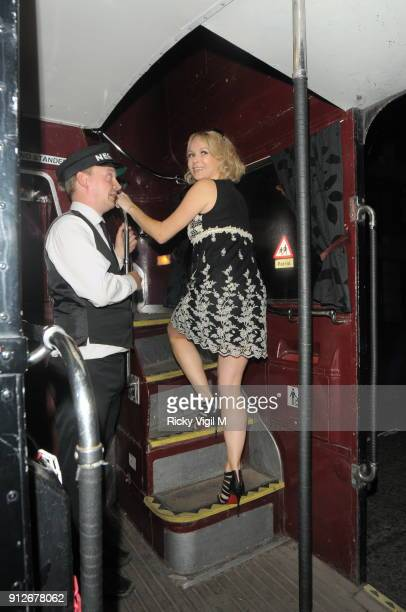 Amanda Holden is seen leaving the Theatre Royal Drury Lane after Shrek the Musical on September 30 2011 in London England