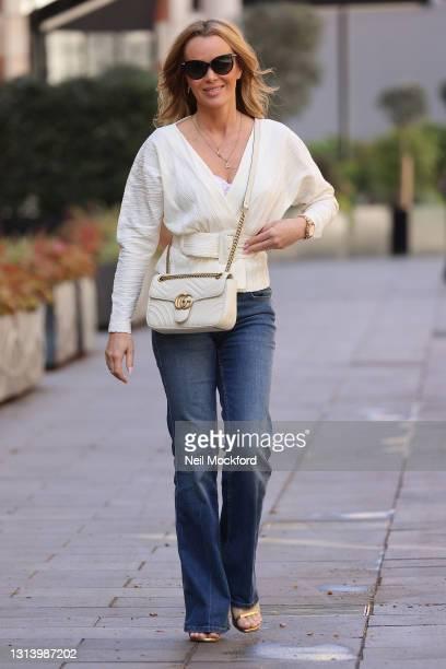 Amanda Holden leaving Heart Breakfast Radio Studios on April 23, 2021 in London, England.