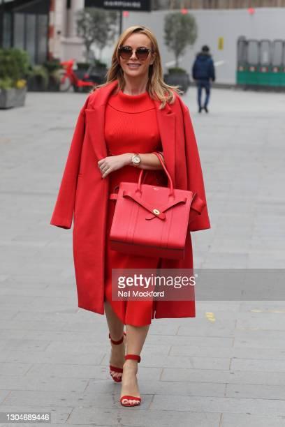 Amanda Holden leaving Heart Breakfast Radio Studios on March 01, 2021 in London, England.