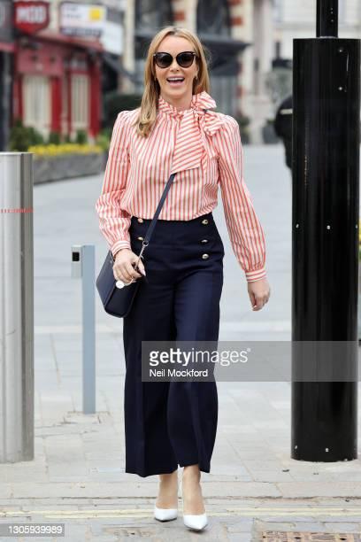 Amanda Holden leaving Heart Breakfast Radio Studios on March 08, 2021 in London, England.