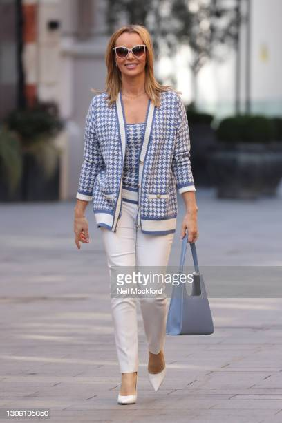 Amanda Holden leaving Heart Breakfast Radio Studios on March 09, 2021 in London, England.
