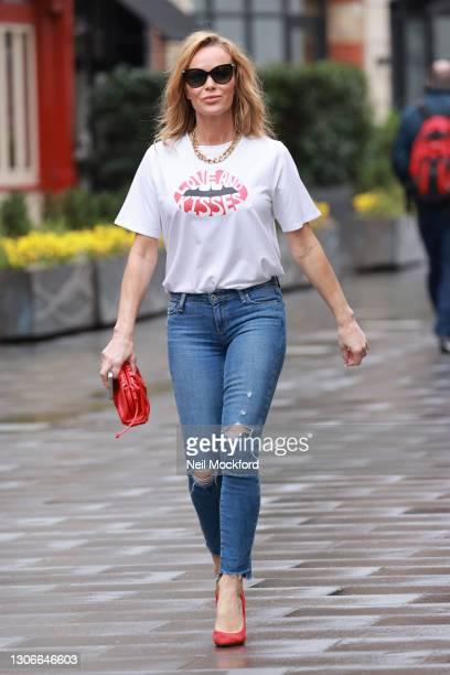 Amanda Holden leaving Heart Breakfast Radio Studios on March 12, 2021 in London, England.