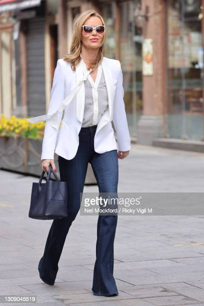 Amanda Holden leaving Heart Breakfast Radio Studios on March 25, 2021 in London, England.