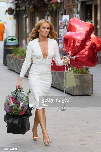 Amanda Holden pictured celebrating her birthday at the Global Studios on February 12, 2021 in London, England.