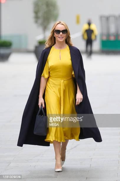 Amanda Holden pictured leaving Global Studios on February 22, 2021 in London, England.