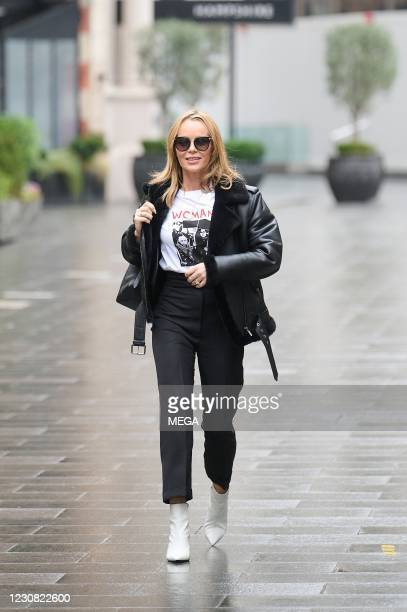 Amanda Holden seen arriving at the Global Radio Studios on January 27, 2021 in London, England.