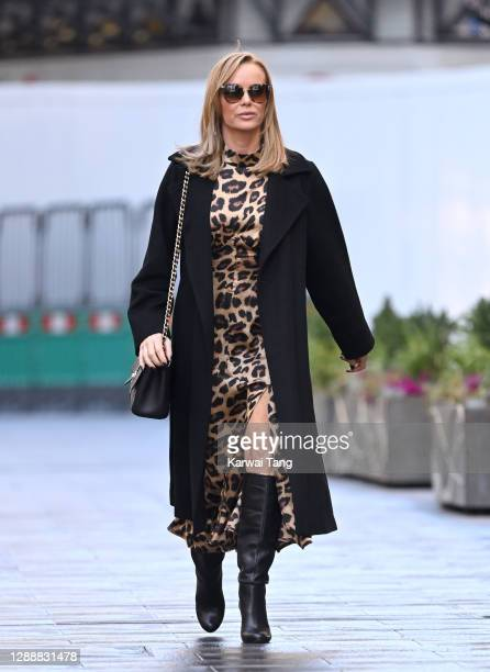 Amanda Holden seen departing Global Radio Studios, Leicester Square on December 01, 2020 in London, England.