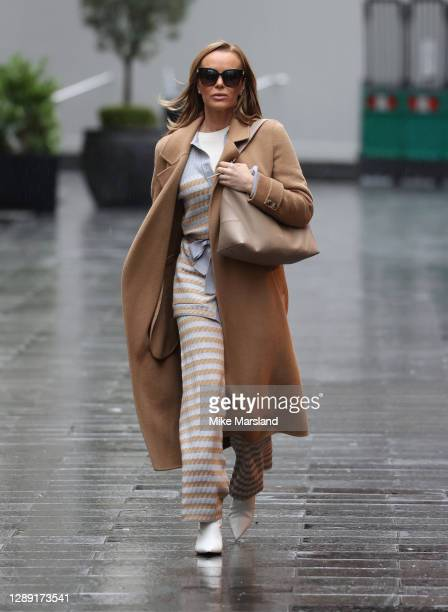 Amanda Holden seen departing Global Radio Studios, Leicester Square on December 03, 2020 in London, England.