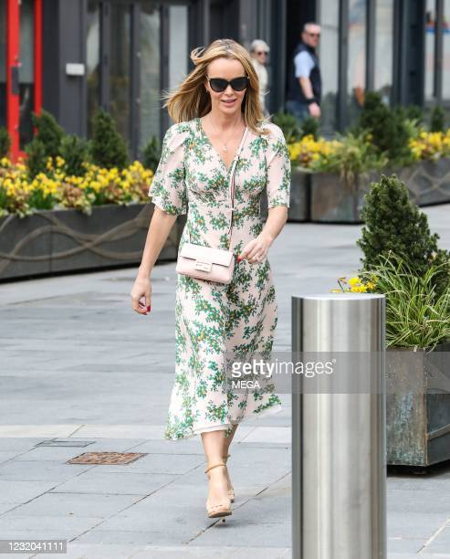 Amanda Holden seen departing Global Studios on March 31, 2021 in London, England.