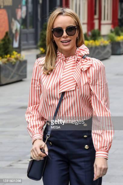 Amanda Holden seen departing Global Studios on March 8, 2021 in London, England.