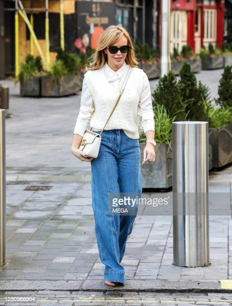 Amanda Holden seen departing the Global Radio Studios on February 5, 2021 in London, England.