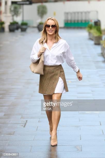 Amanda Holden seen departing the Global Radio Studios on January 28, 2021 in London, England.