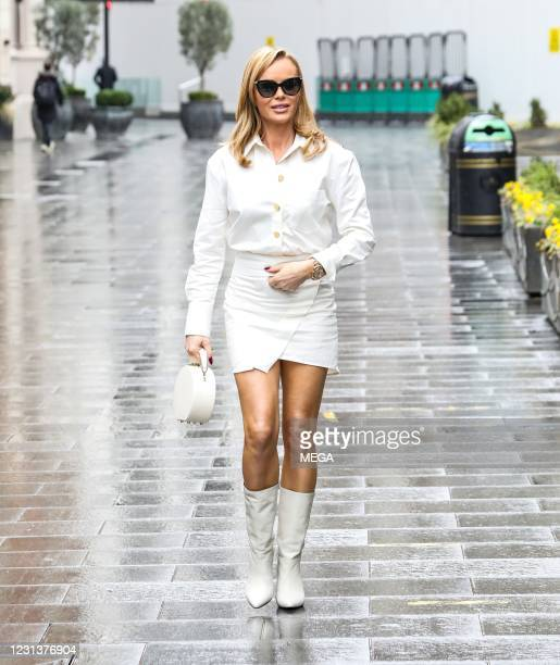 Amanda Holden seen departing the on February 25, 2021 in London, England.