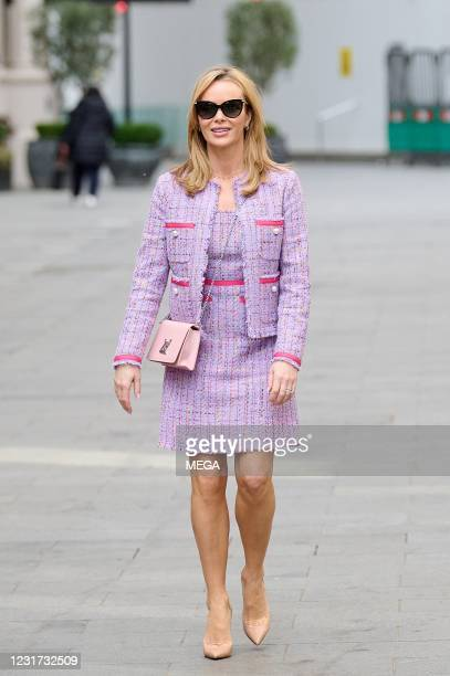 Amanda Holden seen leaving at the Global Radio Studios on March 14, 2021 in London, England.