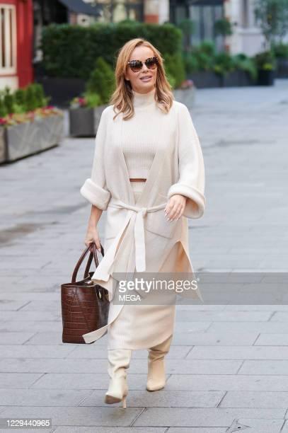 Amanda Holden seen leaving Global Radio Leicester Square on November 3, 2020 in London, England.