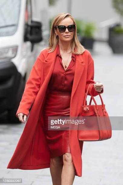 Amanda holden seen leaving Global Radio Studios on December 9, 2020 in London, England.