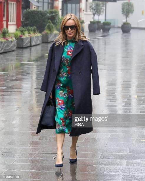 Amanda Holden seen leaving Global Radio Studios on January 13, 2021 in London, England.