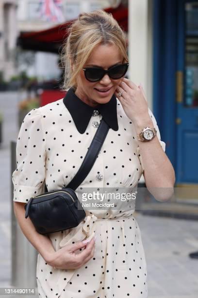 Amanda Holden seen leaving Heart Breakfast Radio Studios on April 26, 2021 in London, England.