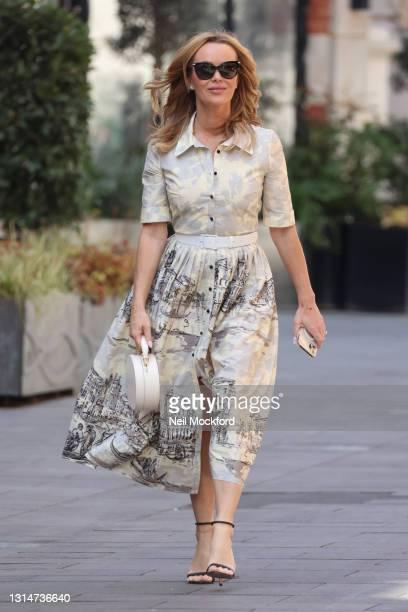 Amanda Holden seen leaving Heart Breakfast Radio Studios on April 27, 2021 in London, England.