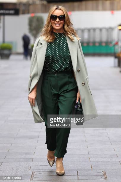 Amanda Holden seen leaving Heart Breakfast Radio Studios on April 29, 2021 in London, England.