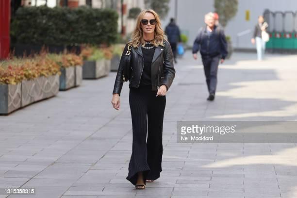 Amanda Holden seen leaving Heart Breakfast Radio Studios on April 30, 2021 in London, England.