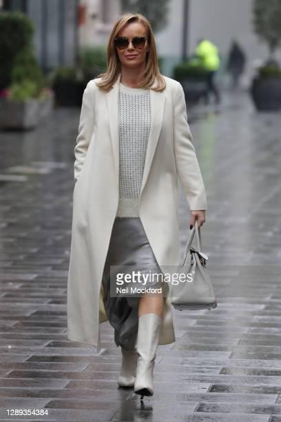 Amanda Holden seen leaving Heart Breakfast Radio Studios on December 04, 2020 in London, England.