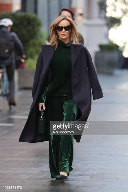 Amanda Holden seen leaving Heart Breakfast Radio Studios on December 15, 2020 in London, England.