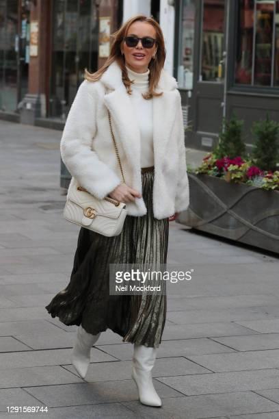 Amanda Holden seen leaving Heart Breakfast Radio Studios on December 16, 2020 in London, England.