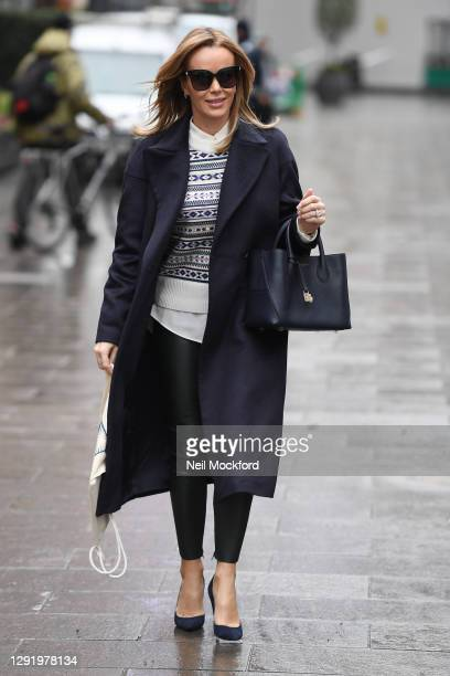 Amanda Holden seen leaving Heart Breakfast Radio Studios on December 18, 2020 in London, England.