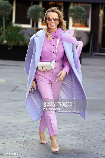 Amanda Holden seen leaving Heart Breakfast Radio Studios on February 12, 2020 in London, England.