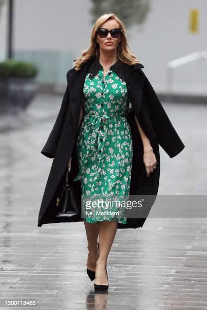 Amanda Holden seen leaving Heart Breakfast Radio Studios on February 03, 2021 in London, England.