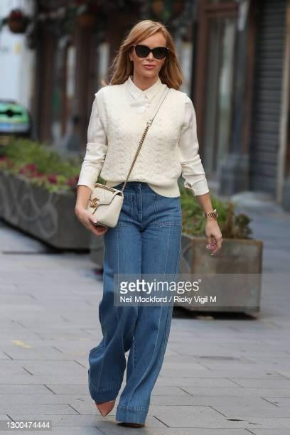 Amanda Holden seen leaving Heart Breakfast Radio Studios on February 05, 2021 in London, England.