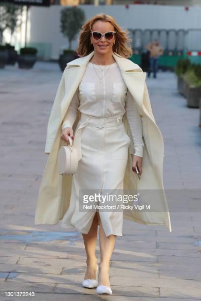 Amanda Holden seen leaving Heart Breakfast Radio Studios on February 10, 2021 in London, England.