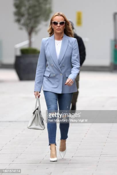 Amanda Holden seen leaving Heart Breakfast Radio Studios on February 11, 2021 in London, England.