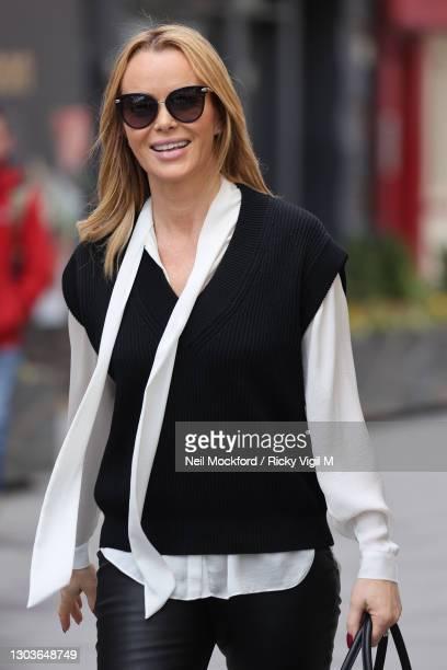 Amanda Holden seen leaving Heart Breakfast Radio Studios on February 23, 2021 in London, England.